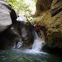 Rutschpassage in der Canyoningtour Jabron die auch umgangen werden kann