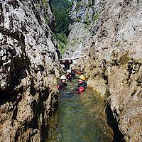 schmalste Stelle der Canyoningtour Aquasplash